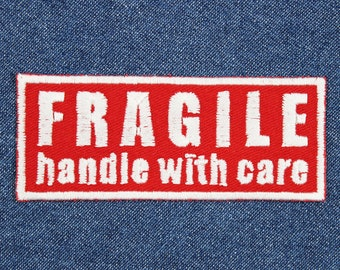 "Fragile Patch – 3.75"" x 1.5"" Fragile: Handle With Care Patch – Spoonie Patches – Self Care Patch –Chronic Illness Patch –Patches for Jackets"