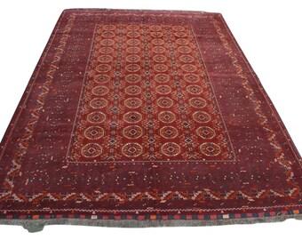 High Quality Hand knotted vintage Afghan Kunduz rug 100% wool -1970's