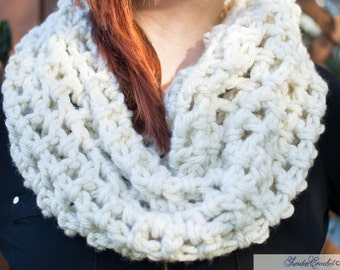 Snow White Crochet Cowl Neck Scarf