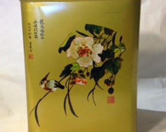 1960s Pretty Vintage Asian Cherry Blossom Tea Tin