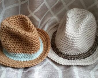 Crochet Little Man Fedora - Infant - Baby - Toddler