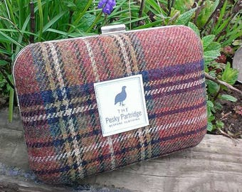 English tweed clutch bag, box purse, clam shell purse, ideal for races, wedding bag, party bag, tweed bag, gifts for her,  mothers day gift