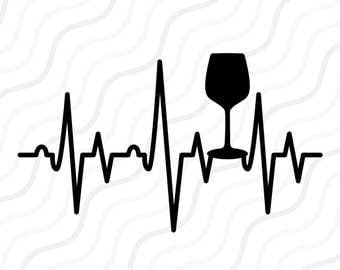 Wine Glass Heartbeat SVG, Wine Glass SVG, Heartbeat SVG Cut table Design,svg,dxf,png Use With Silhouette Studio & Cricut_Instant Download