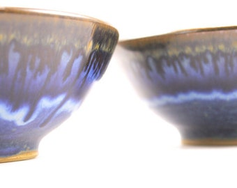 handmade bowls. pottery stoneware bowls. set of 2 ceramic bowls. hand thrown pottery bowls. flowing deep blue glaze. READY TO SHIP