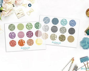 Colorful big and small dots with drawings, transparent stickers