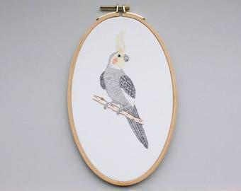Bird image - embroidered cockatiel in the hoop