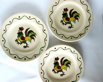 Vintage Metlox Poppytrail Rooster California Provincial Bread and Butter Plates, Dessert Plates, Rooster Dinnerware, Farmhouse Kitchen