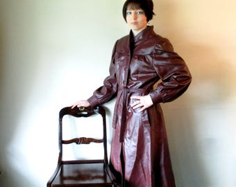 Vintage Leather Trench Coat, Oxblood Leather Womens Trench, Full Length Spy Coat, 1970s Burgundy Brown Long Leather Coat, Size 12