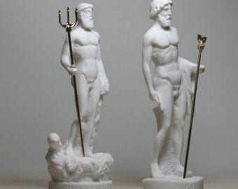 2 Greek Gods ZEUS & POSEIDON Statue Sculpture figurine 6.3in - 6.7in (16cm - 17cm) **Free Shipping - Free Tracking Number**