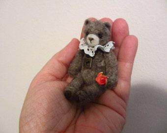 Violet Bear - kawaii, valentine bear,artist bear, miniature bear, vintage bear, dollhouse bear, tiny bear, art bear, teddy bear, Blythe