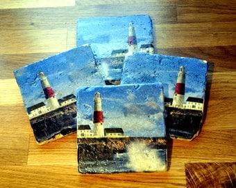 Lighthouse/Sea Natural Stone Coaster