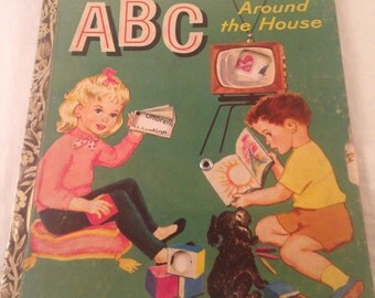 Vintage Little Golden Book/ABC Around the House/1957/unique ABC spinning wheel/colorful vintage illustrations/interactive