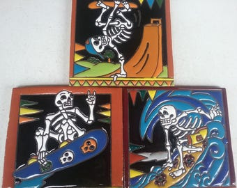 Mexican day of the dead tiles x 3 ( 15cm x 15cm each )