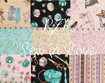 Nine fat quarters from the collection RJR sew in love patchwork quilting sewing home deco