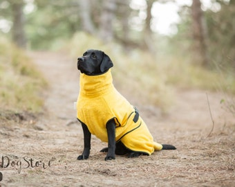 Dog Bathrobe yellow - Made to Order - Doggy bathrobe