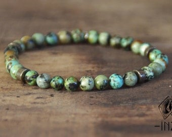 Unisex bracelet in African turquoise Jasper 6 mm INZ - I - model JEFF