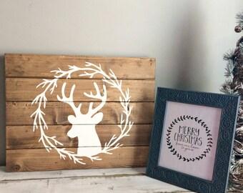 Deer Head Silhouette- Cabin Decor- Woodland- Rustic Wall Decor- Woodland Animals- Woodland Signs- Deer Head- wall decor living room