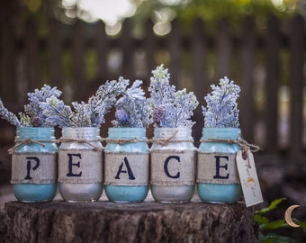 PEACE Rustic Mason Jar vases - holiday