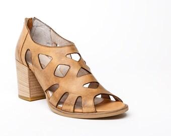 Women's sandals beige, women's leather heels beige, leather laser cut high heel sandals, leather women's handmade shoes, sandal zip close