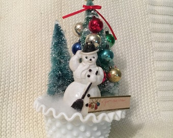Vintage Milk Glass and Bottle Brush Tree Christmas Decor