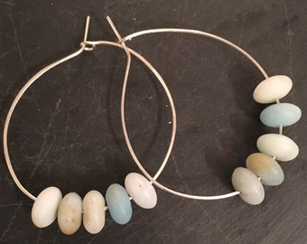 Amazonite and Sterling Silver Hoop Earrings