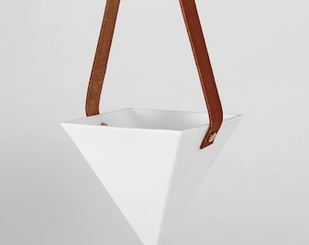 White Pyramid Hanging Planter