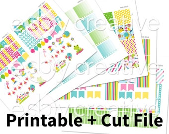 Sale - 25% Off! Spring Theme - Weekly Sticker Kit Printable for Erin Condren Horizontal - HWK-006 - INSTANT DOWNLOAD
