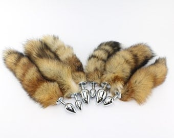 "Gorgeous 16""-18 red fox tail on stainless steel plug. 3 sizes! Small, medium, large butt plug, anal plug, sex toys, fox tail butt plug, bdsm"