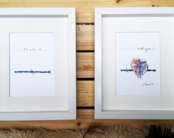 Love Bird Diptych // I'd Rather Be With You // Watercolor Print Set