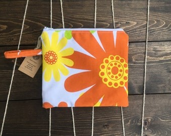 Zipper pouch, makeup bag, flowers