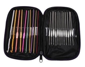 22Pcs Multi-colour Aluminum Crochet Hooks Knit Weave Needle Kits Embroidery Needlework Craft Sewing Tools Knitting Needles