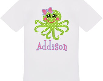 Personalized Octopus T-Shirt For Girls