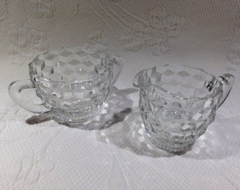 """Jeannette Glass - set creamer and sugar in glass depression - pattern """"cube"""""""