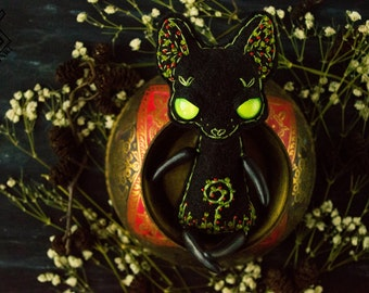 Black Green Greenery Magic Magick Cat Kitty OOAK OOAKDOLL OOAKTOY Witch Hex Embroidery Art Doll Toy Furry Familiar Herbs Herbarium Stitchart