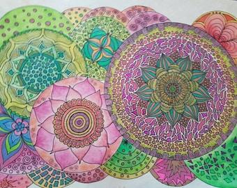 Mandala rainbow pile colorfull decorative happy drawing