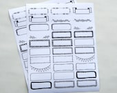 30 - Write-On Black Ink Decorative Borders and Boxes Stickers White Paper Background Planner or Bullet Journal Stickers (WG)