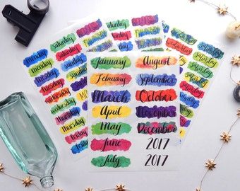 6 Sheet Monthly Planner or Bullet Journal Sticker Kit - Vibrant Water Color Transparent Monthlies Stickers to Plan Your Month (K10)