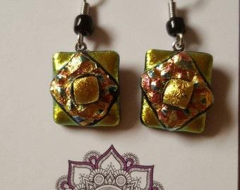 Glass fused dangle earrings-9