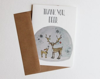 Thank You Card, Greeting Card, Thank You Deer
