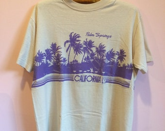 vintage 1980s Hanes beefy-T made in USA // Palm Springs California palm trees beach scene