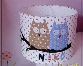 "Lampshade ""Large owls blue beige"""