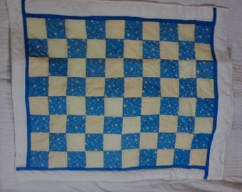 Baby quilt, blue, yellow, white with stars