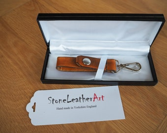 Leather key fob and presentation box