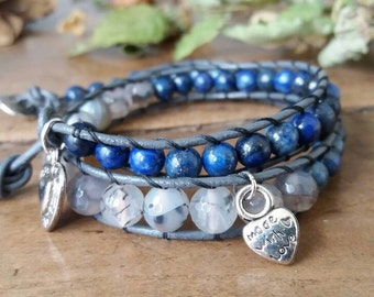 Two-turn bracelet with agate and lapis lazuli