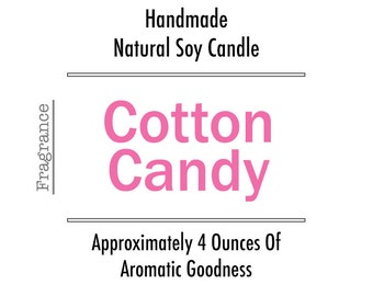 1 Pink Cotton Candy 4oz Scented Tin Candle, Aromatic Candy Candle, Eco Friendly Soy Candle