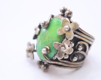 Green Turquoise 925 Sterling Silver Ring Size 6