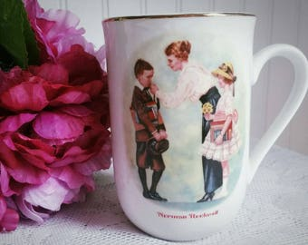 Free US Shipping Vintage 1986 Norman Rockwell Mug / The First Day of School /  Porcelain Coffee Cup / Gold Trim on Rim / Teacup / Americana