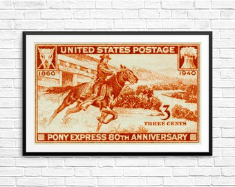Art print: Pony Express, Ponies, Horses, US Postal Service, Postage Stamps, USA Stamp Art, Large Stamp Art, Vintage Horse Posters, Prints