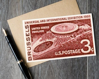 Brussels Exposition, United States Pavilion, US Postage Stamps, vintage gift cards, unique gift cards, US gift cards, 1958 World's Fair