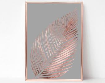 Rose Gold Print Art, Rose Gold Foil Print, Rose Gold Livingroom Decor, Rose Gold Tropical Leaf Print, Tropical Decor Print, Trending Now Art